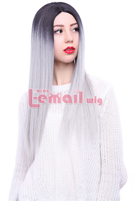 25.59 Inch Long Straight Black Mixed White Invisible Lace Wig
