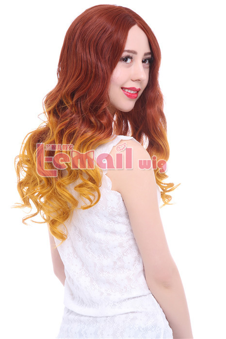 23.62 Inch Women Mixed Color Wavy Lace Front Wig LC76