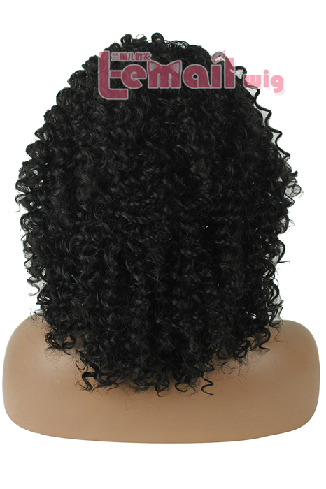 40cm Medium Black BRAZILIAN Women Curly Lace Front Wig