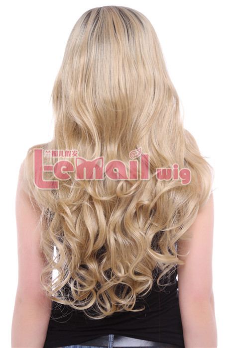 80cm Long Wave Mixed Black And Flaxen Lace Front Wig BRAZILIAN