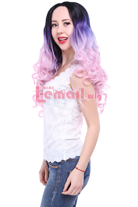 beautiful 75cm Long Wave Black Purple Fade Pink Lace Front Wig