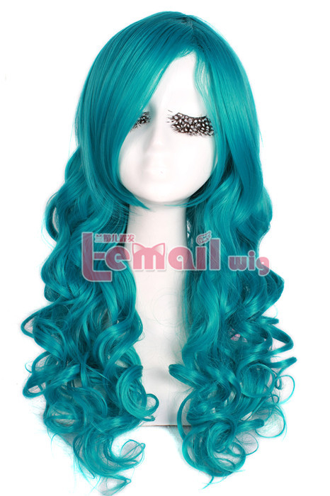 65cm long Blue wavy Anime cosplay hair wig for women