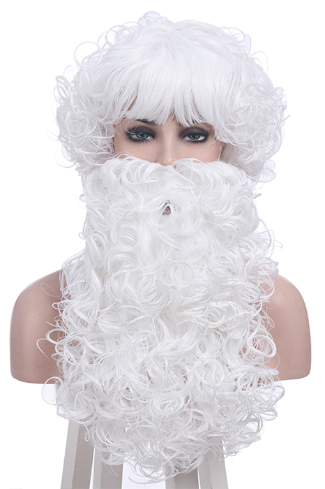 Christmas Wigs Santa Claus White Curly Long Beard Cosplay Wigs