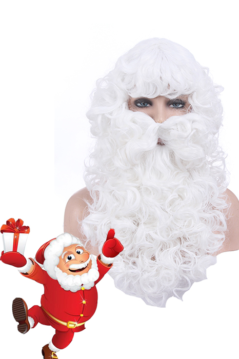 Christmas Santa Claus White Curly Long Hair Beard Cosplay Wigs