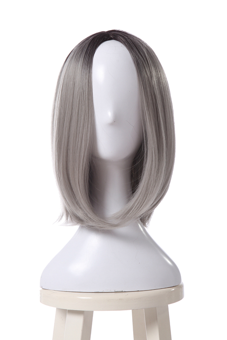 35CM Medium Long Gray Straight Fashion BOB Synthetic Wigs ML292C
