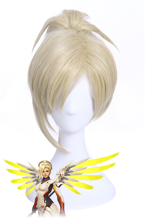 Overwatch Heroes Angela Mercy Short Beige Cosplay Wigs zy214 zy214
