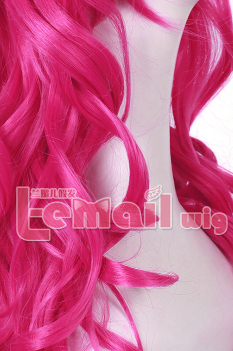 60cm Bright Pink Anime Lolita clip on ponytail wavy hair Wig