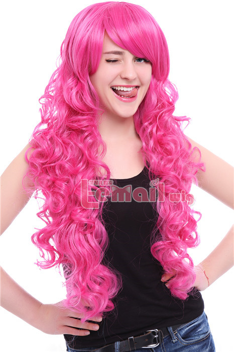 70cm long Magenta My Little Pony Pinkie wavy cosplay women wig RW148