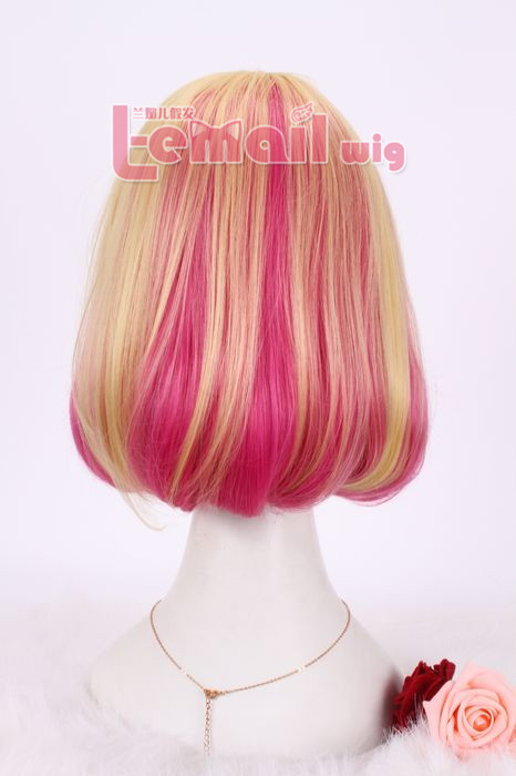 39cm mixed blonde and magenta Anime cosplay hair wig