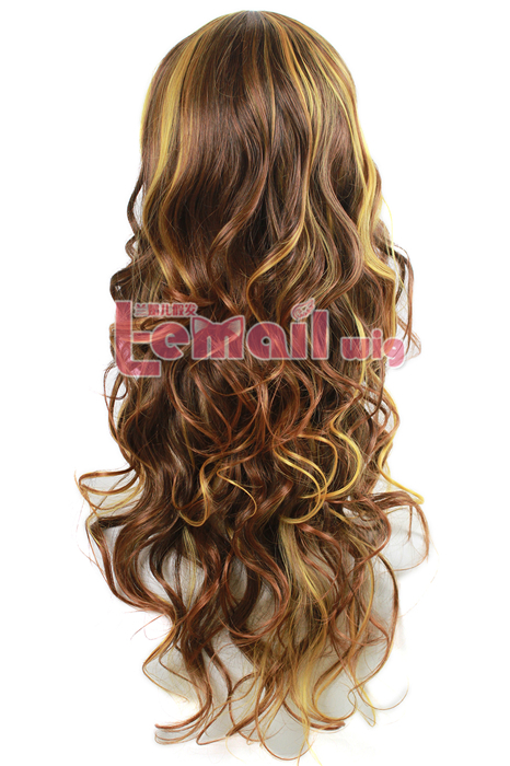 70cm long Mixed Golden and Brown fashion Small wave women wig