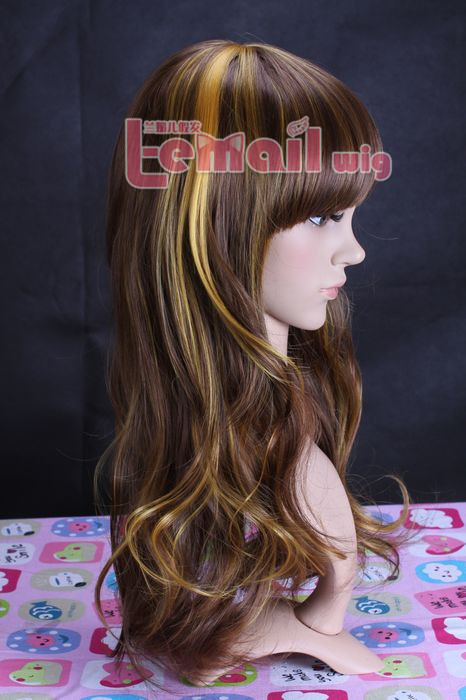 63cm long mix glod and brown wavy fashion hair wig for women