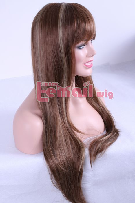75cm Long women Mixed color straight fashion hair wig