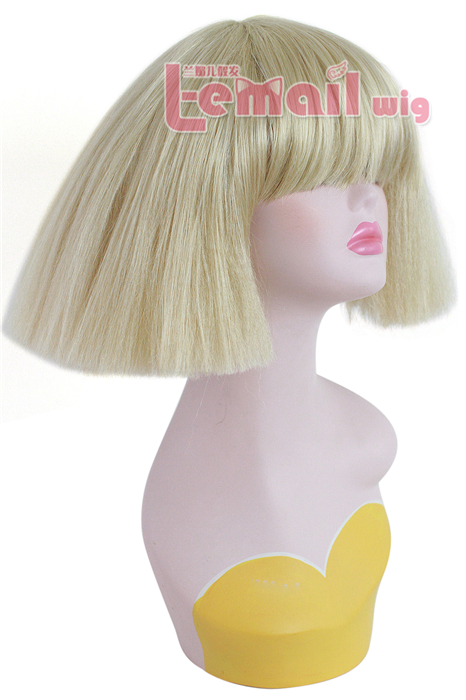 34cm short Beige cosplay wig exploded corn hot non-mainstream