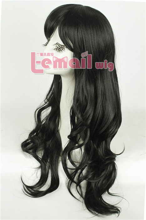 70cm long Dark brown and Black fashion Small wave women wig