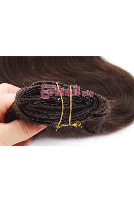 14inch Body Wave Dark Brown Human Hair Clip-In Hair Extension
