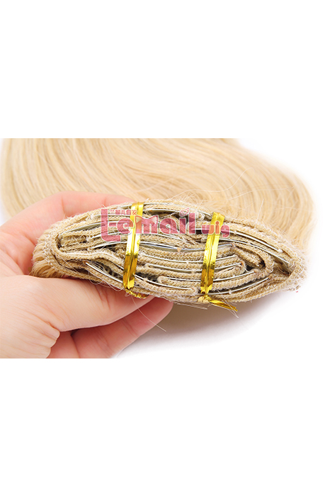 16inch Body Wave Beige Human Hair Clip-In Hair Extension 100g