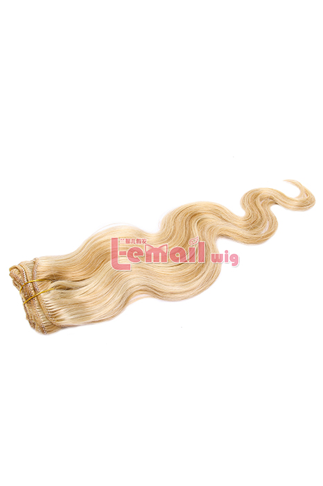 18inch Body Wave Mixed Color Blonde&White Human Hair Clip-In