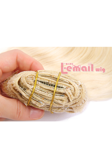 18inch Body Wave Beige Human Hair Clip-In Hair Extension 100g