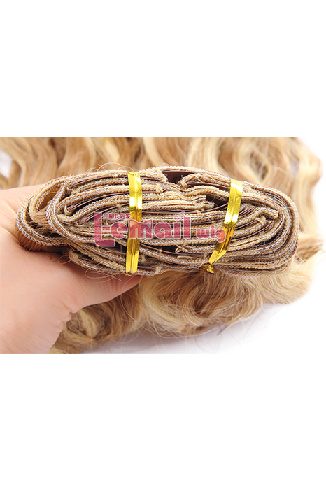 14inch Wavy Mixed Color Blonde&Light Brown Human Hair Extension