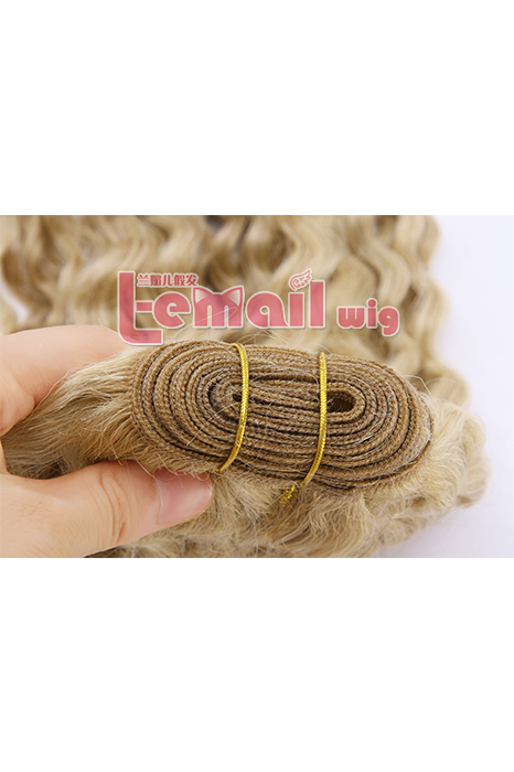 16inch Curly Mixed Color Bleach Blonde Human Hair Extension 100g