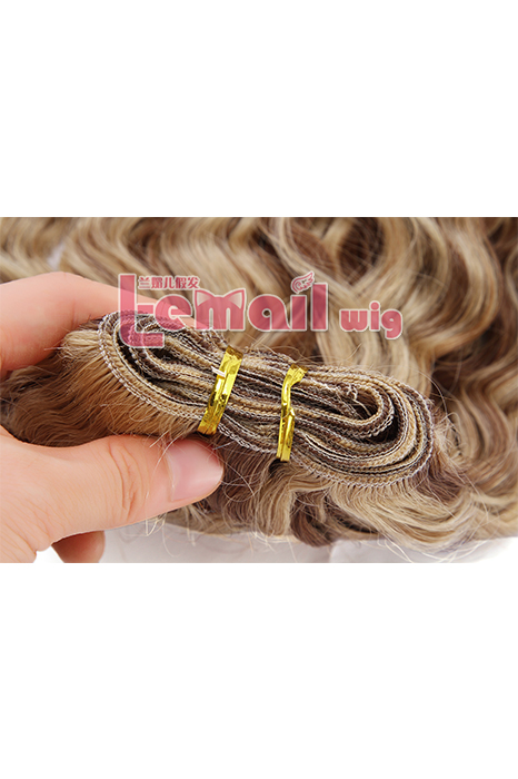 18inch Curly Mixed Color Blonde&Dark Brown Human Hair Extension