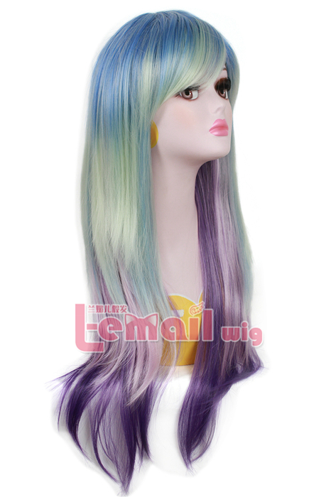 70cm long straight 3 colors GRADIENT cosplay hair wig