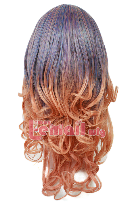 55cm long Zipper Purple Fade Brown Wavy cosplay hair wig