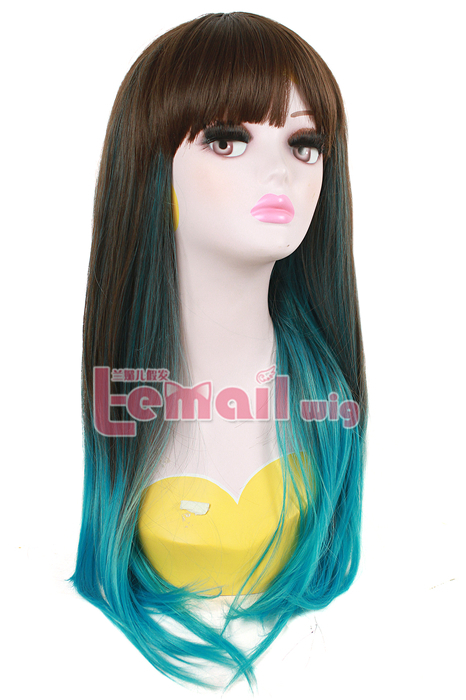 60cm Long Flax Dyed Blue Color Straight Cosplay Hair Wig ZY136
