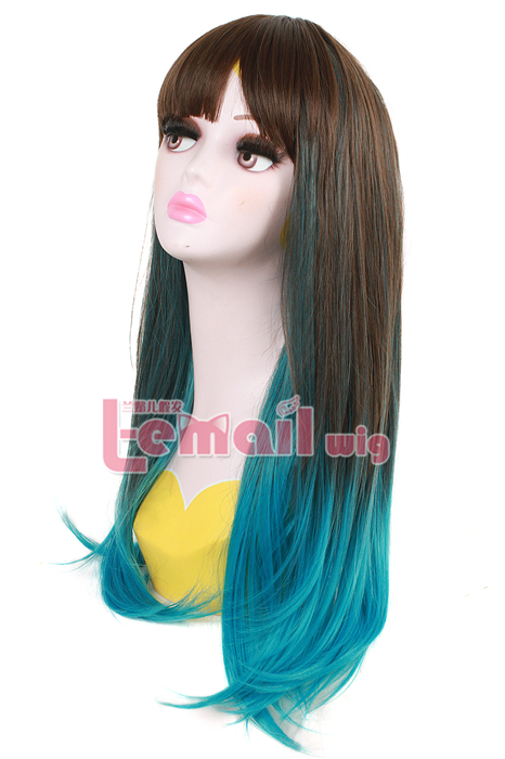 60cm Long Flax Dyed Blue Color Straight Cosplay Hair Wig
