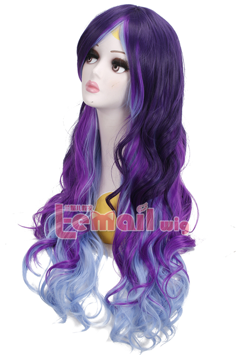 75cm Long Wave Purple Fade Light Blue Zopper Cosplay Women Wig