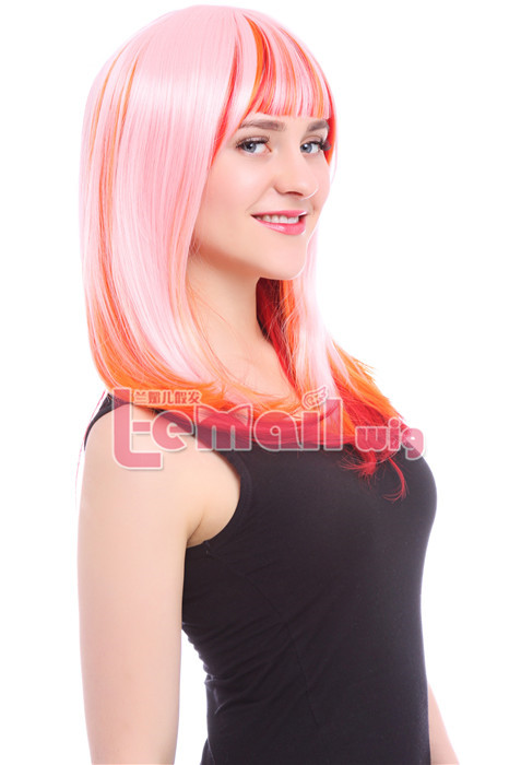 60cm Long Pink Fade to Red Zipper Cosplay women hair Wig