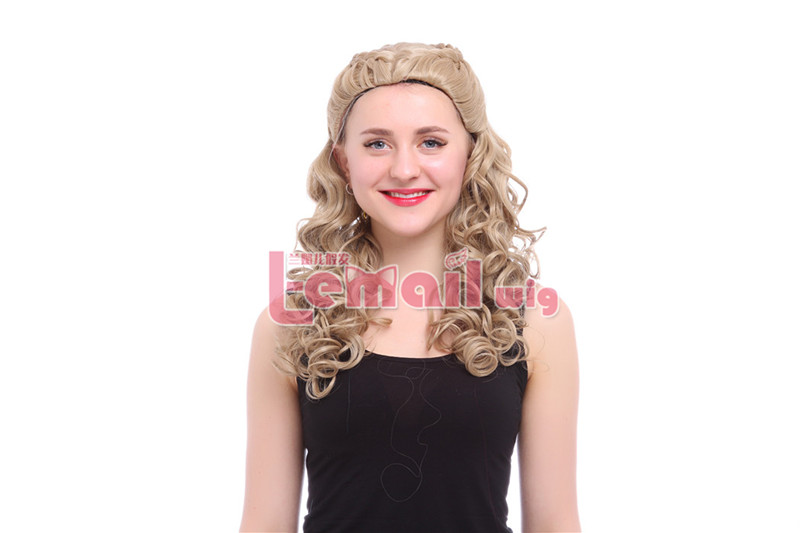 55cm Cinderella Long Wavy Blonde Anime Cosplay Wig ZY179