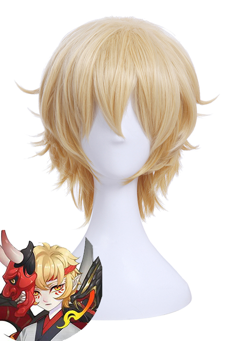 Game YinYang Master Ban Ruo Blonde Man's Short Cosplay Wigs ZY222
