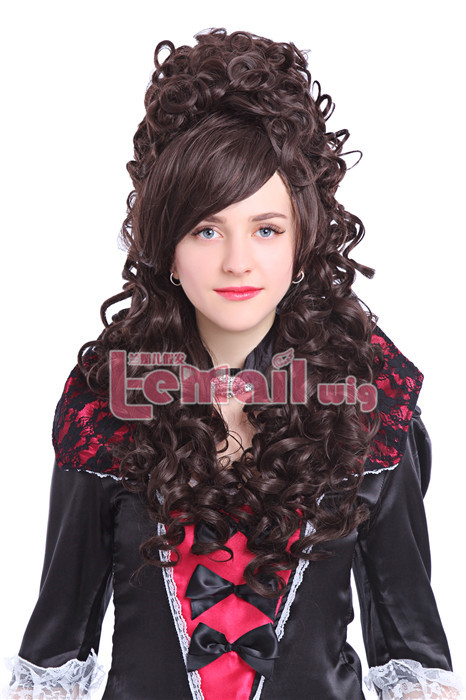 80cm long brown Marie Antoinette Anime cosplay wig ZY34E ZY34E