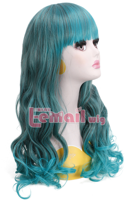 55cm long mix green fade bleach ombre wave cosplay hair wig