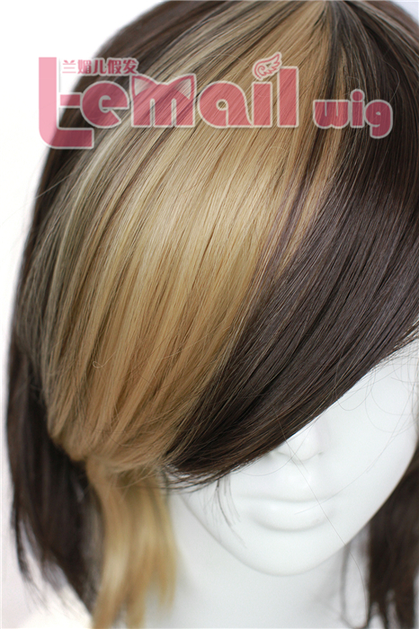 30cm short light brown/dark brown straight Bob cosplay hair wig