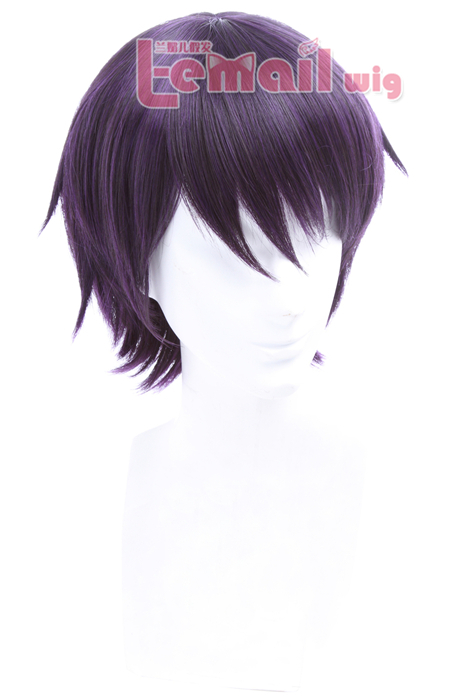 25cm short Black Purple Noragami yato Cosplay Wig ZY83