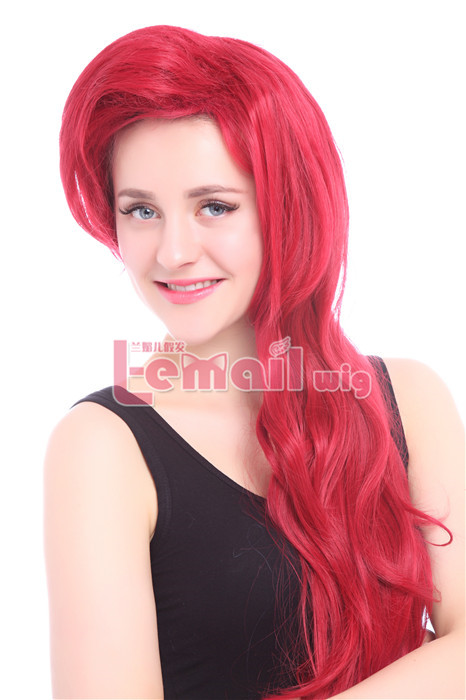 70cm Dark Red Little Mermaid Ariel Cosplay Women Hair Wig