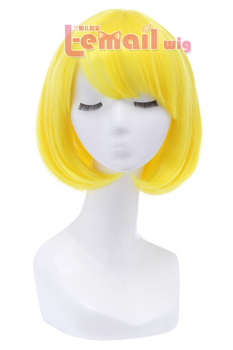 30cm Short Bob Straight Bright Yellow Cosplay Wigs CB47F CB47F