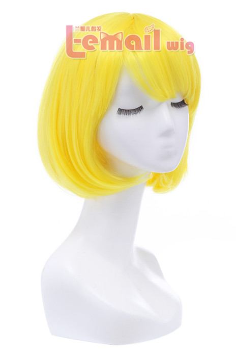 30cm Short Bob Straight Bright Yellow Cosplay Wigs CB47F