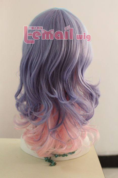 50cm long purple fade pink with blue bangs wave cosplay hair wig