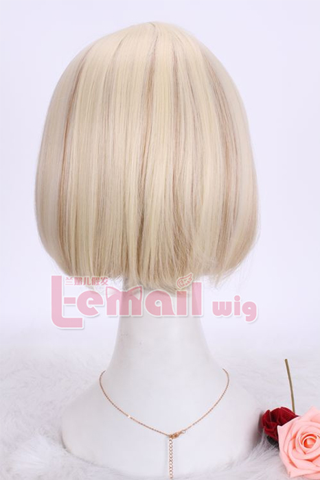 30cm short blonde mixed brown straight BOB cosplay hair wig