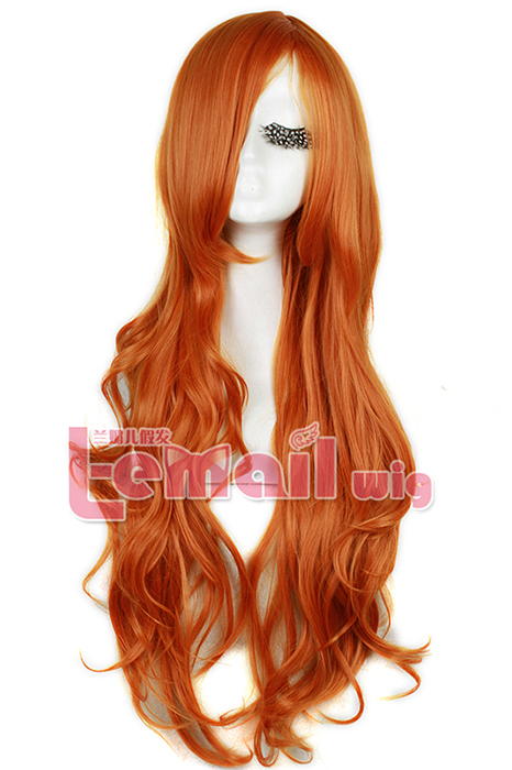 75cm Long Orange Red Cosplay Wig