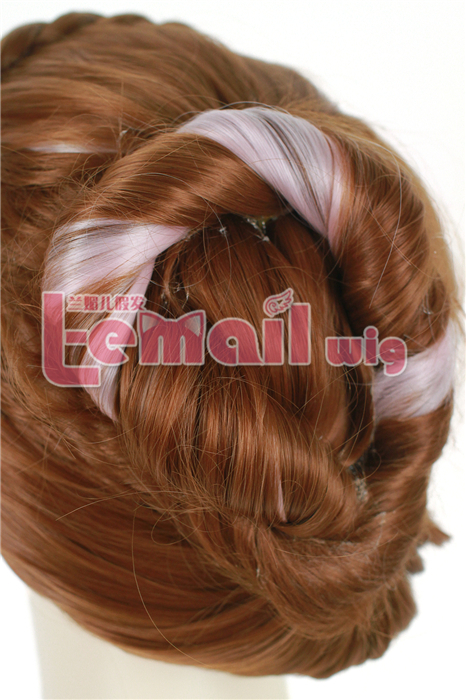 25cm Short brown mixed pink anna princess cosplay wig
