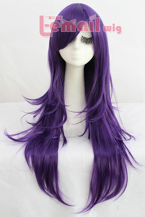80cm long purple Nase Mitsuki straight cosplay hair wig
