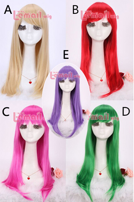 55cm long 5 colors Anime straight Smooth Cosplay women hair wig CW143