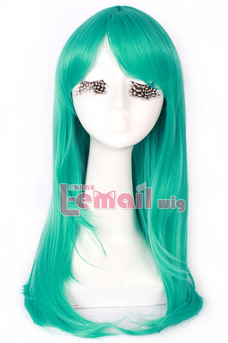 65cm long Teal green Anime straight Cosplay party women hair wig