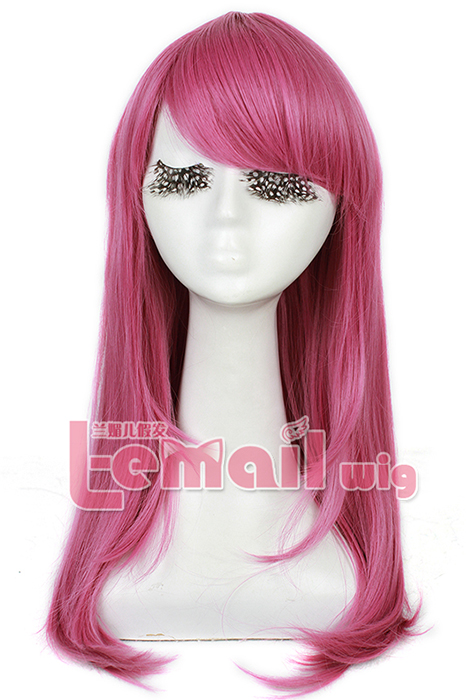 60cm long Rose Pink Anime straight Cosplay party women hair wig CW143L