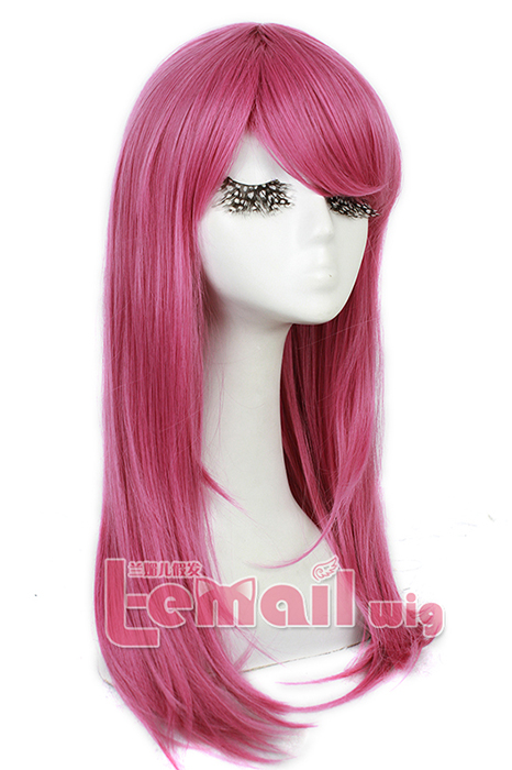 60cm long Rose Pink Anime straight Cosplay party women hair wig