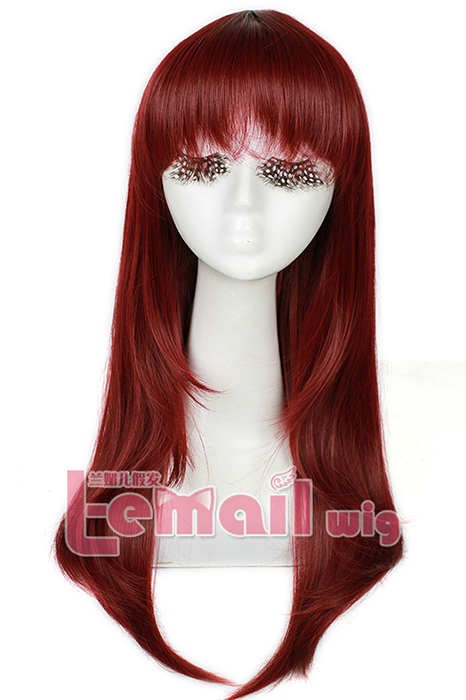 60cm long Wine Red Anime straight cosplay women hair wig CW143M